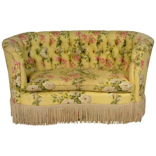 1930s Vintage Curved High Back Settee For Sale