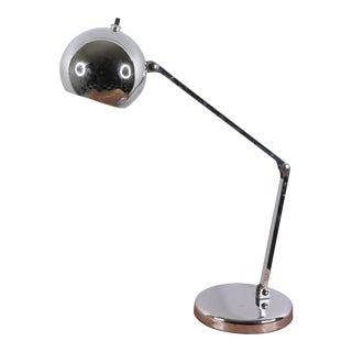 Vintage 1970s Mid Century Modern Sonneman Chrome Orb Adjustable Desk Table Lamp For Sale