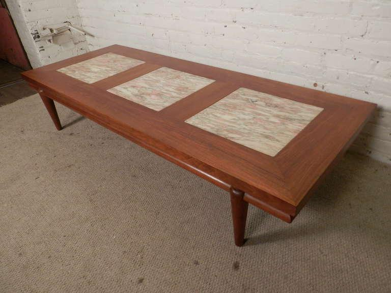 mid century modern coffee table. Large Sofa Table Made Of Walnut Grain With Three Thick Marble Inserts. Nice Tapered Legs. Mid-Century Modern Mid Century Coffee