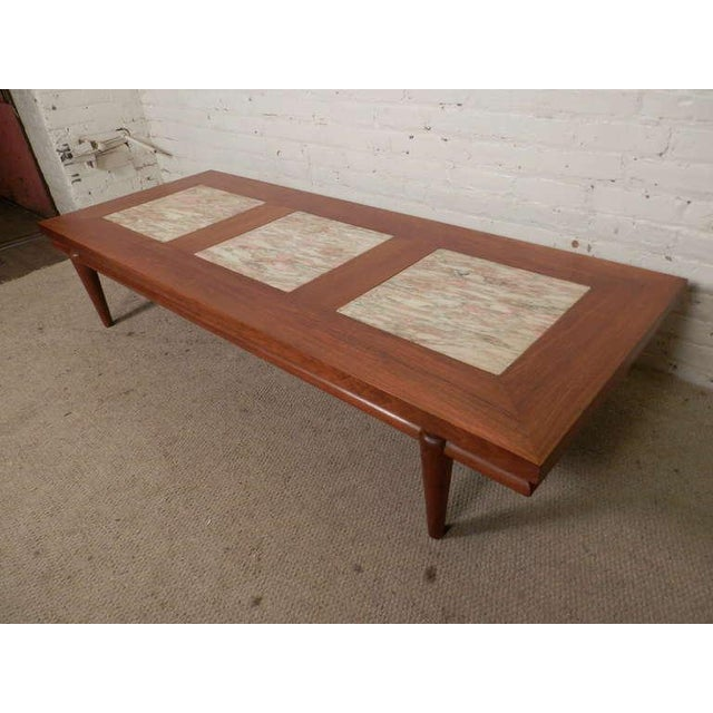 Rare MidCentury Modern Coffee Table With Marble Inserts By John - Mod century modern coffee table