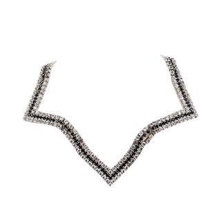1980s Alexis Kirk Rhodium Plated Rhinestone Collar Necklace For Sale