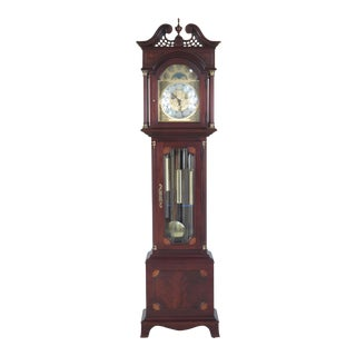 Ethan Allen 5 Tube Chime Mahogany Grandfather Clock