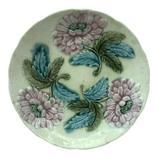 19th Century Majolica Pink Flowers Plate Onnaing For Sale