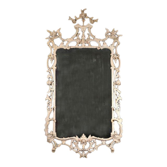 George III White Painted Rococo Mirror For Sale