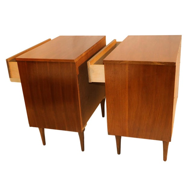 Mid-Century Walnut Chest Nightstands- A Pair - Image 4 of 10