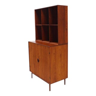 Vintage Mid Century Peter Hvidt Solid Teak Bookcase Two Doors Chest of Drawers Cabinet Dowel Legs For Sale