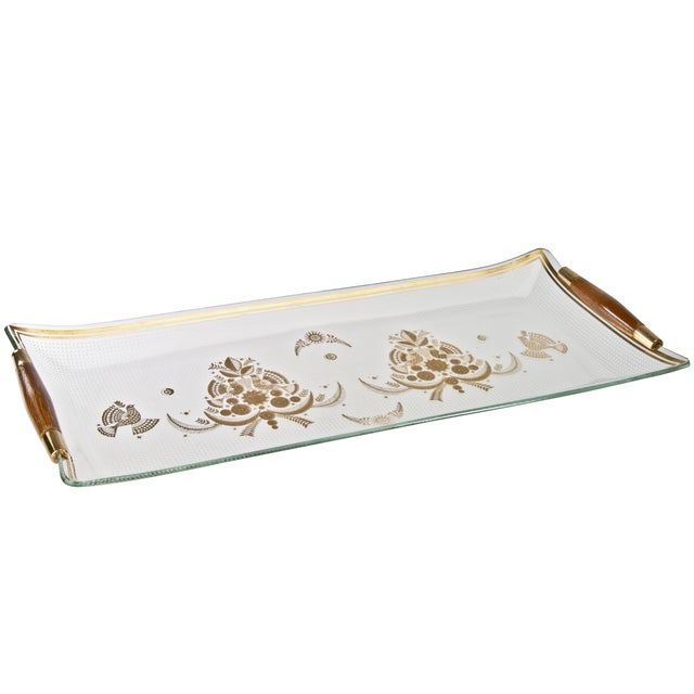 Vintage Mid-Century Georges Briard glass serving tray with teak handles. Perfect tray to host your next Madmen party!
