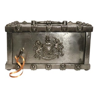 Antique English Lock Box Safe, Circa 1880. For Sale