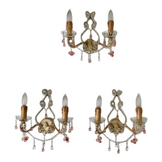 Clear and Pink Crystal 2 Light Sconces - Set of 3 For Sale