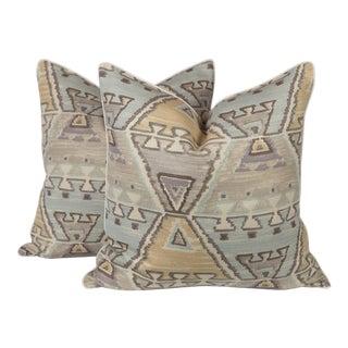 Pastel Tribal Ozak Linen Pillows, a Pair For Sale