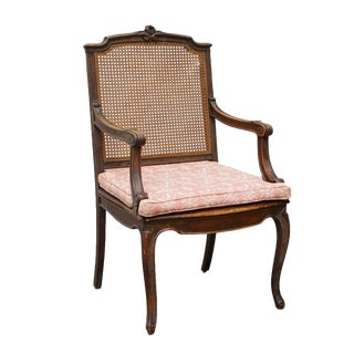 Late 19th Century Louis XV Style Caned Walnut Provincial Fauteuil For Sale
