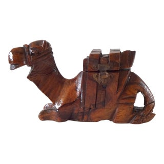 Antique Olivewood Camel Inkwell For Sale