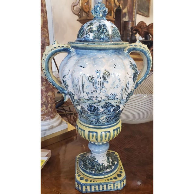 Pair 19th C. Majolica Vases With Lids For Sale In New Orleans - Image 6 of 7