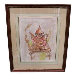 Chinoiserie Monkey With a Banjo Original Signed Watercolor Painting by Diane Voyentzie For Sale