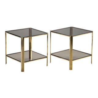 Pair Signed European Brass and Glass Two Tier End Tables