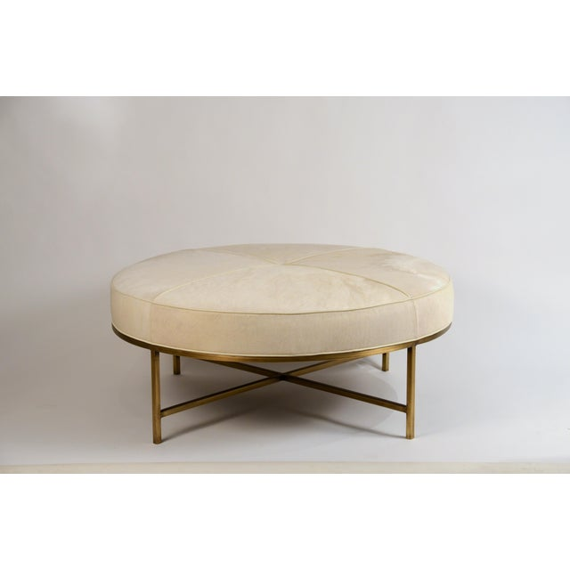 DESIGN FRERES White Hide and Patinated Brass 'Tambour' Ottoman by Design Frères For Sale - Image 4 of 9