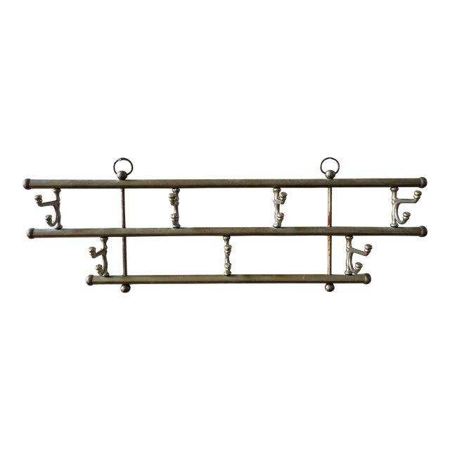 Vintage Brass Swing Hook Coat Rack For Sale