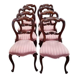 Set of Eight American Victorian Dining Chairs C.1900 For Sale