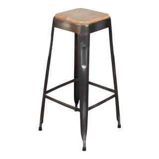 Sarreid Bar Stool W/ Wooden Top For Sale