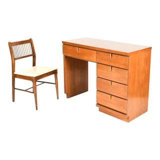 1960s Mid Century Modern Walnut Desk + Chair Set by Johnson Carper - 2 Pieces For Sale