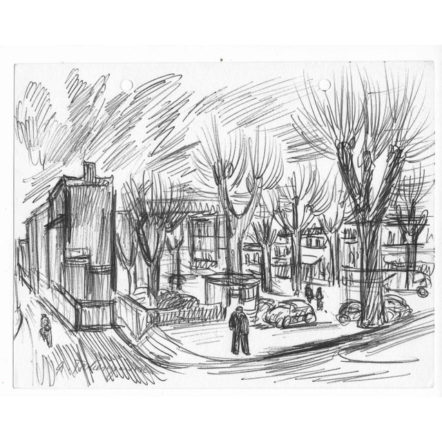 Illustration 1960s Parisian Park Scene by Alex Tschernjawski For Sale - Image 3 of 3