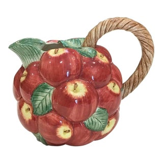 Vintage Fitz & Floyd Majolica-Style Apple Pitcher For Sale