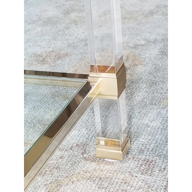 """1970's Signed """"Pierre Vandel"""" Lucite & Gilded Metal End Tables Pair For Sale In New Orleans - Image 6 of 7"""
