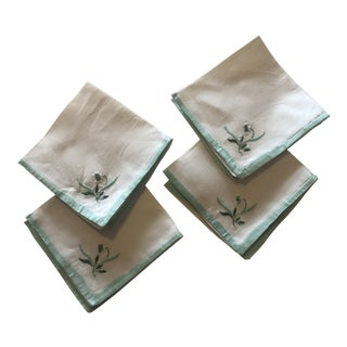 Vintage Linen Embroidered Guest Napkins For Sale