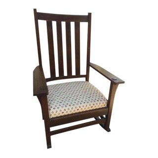 1930s Vintage Mission Style Rocking Chair For Sale