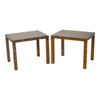 Henredon Campaign Style Pair Of Walnut Side Tables