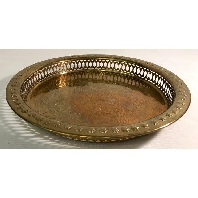 Mid-Century Modern Brass Pierced and Embossed Tray For Sale - Image 4 of 7
