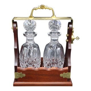 Vintage Waterford Crystal Decanters in Walnut Bourbon Liquor Locker With Key For Sale