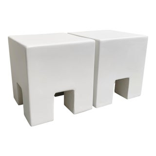 The Archie Smooth Trowel Plaster Square Nightstands - a Pair For Sale