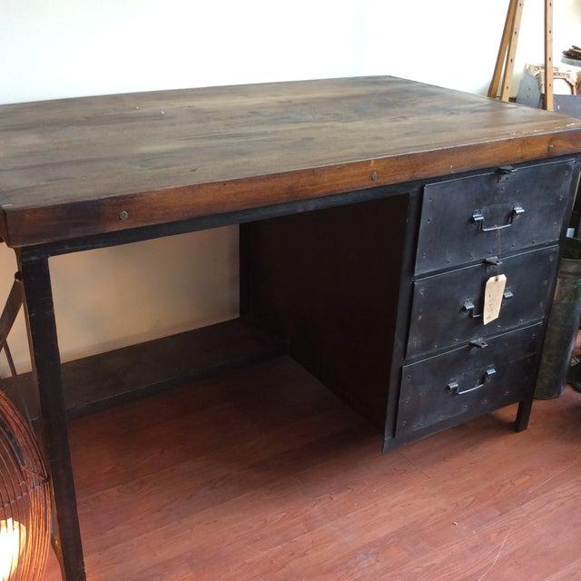 Metal and Wood Industrial Desk - Image 3 of 7