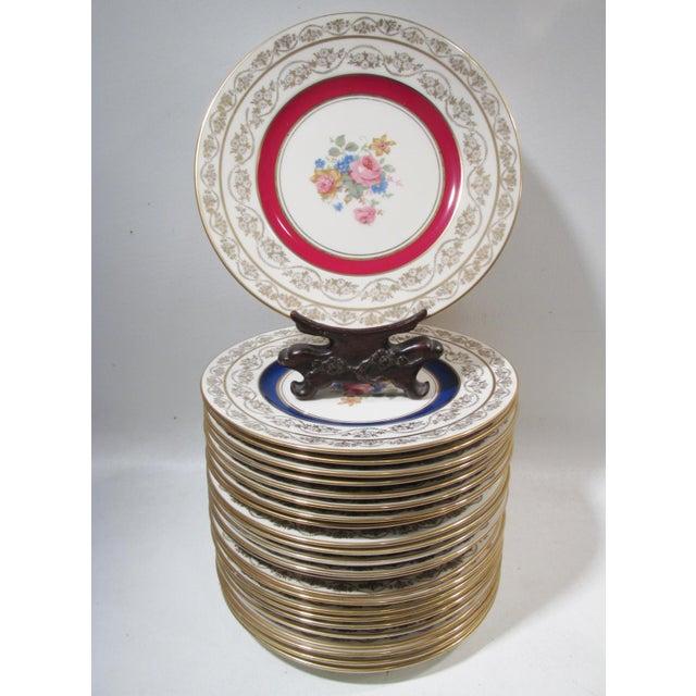 Edgerton Pickard M&r Marks & Rosenfeld Pink Rose Spray Dessert Plates - Set of 24 For Sale - Image 11 of 11