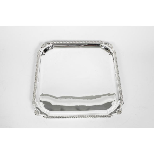 English Silver Plate Barware / Serving Footed Tray For Sale - Image 9 of 11
