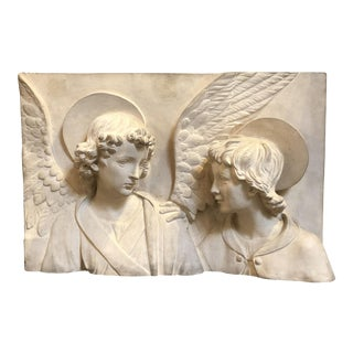 Italian Bas-Relief Terracotta Plaque of Angel and Saint by Manifattura di Signa For Sale