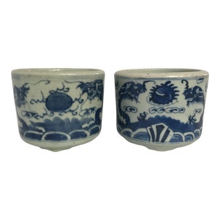 Chinese Blue & White Porcelain Planters - A Pair For Sale