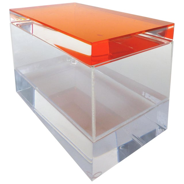Custom Lucite Box With Orange Lucite Top For Sale