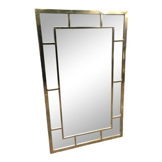 Vintage Solid Brass Rectangle Mirror For Sale