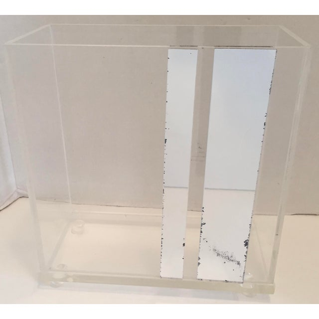 Lucite & Faux Mirror Paper Basket - Image 2 of 6