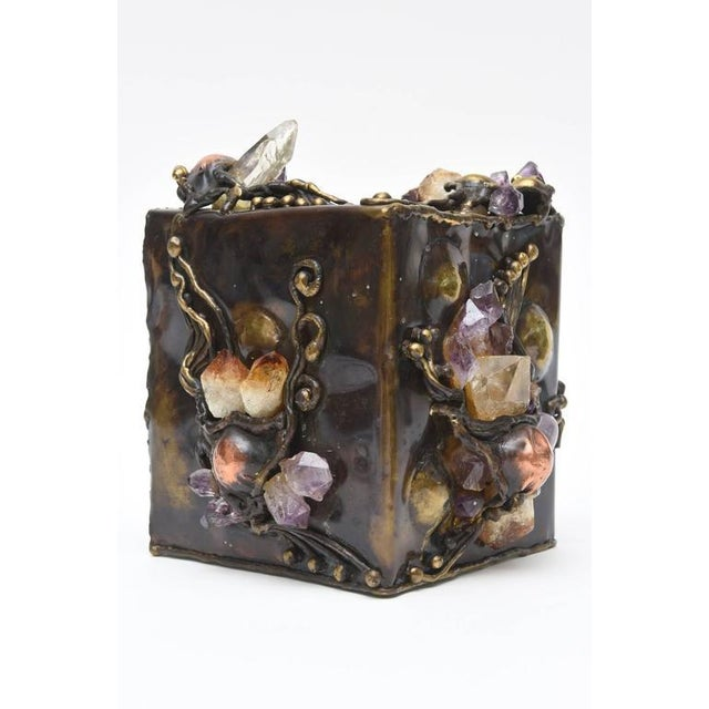 Brutalist Sculptural Mixed Metal and Amethyst, Quartz Tissue Box/ SAT.SALE For Sale - Image 4 of 10
