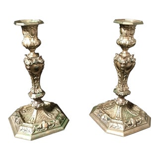 19th Century Rococo Style Brass Candle Sticks For Sale