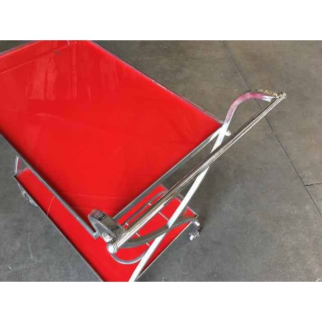 1960s Jacques Adnet Inspired Chromed Aluminum Bar Cart, 1960 For Sale - Image 5 of 7