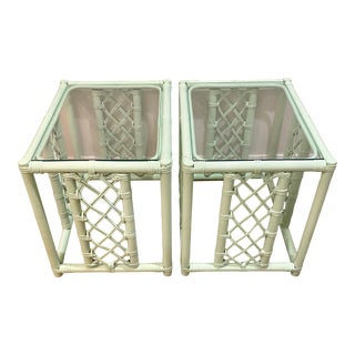 Newly Refinished Vintage Hollywood Regency Boho Chic Palm Beach Coastal Fretwork Mint Green Rattan and Bamboo Side Tables or Nightstands - a Pair For Sale