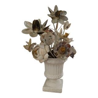 Vintage Japanese Potted Shell Flower Arrangement For Sale