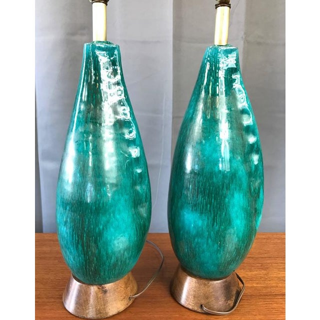 Marcello Fantoni Turquoise Table Lamps - A Pair For Sale In San Francisco - Image 6 of 9