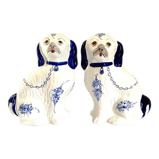 Blue and White Staffordshire Style Dogs - a Pair For Sale