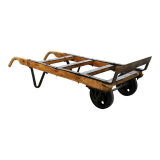 Antique Industrial Oak and Iron Hand Truck Trolley Marked K&j of Columbus Ohio For Sale