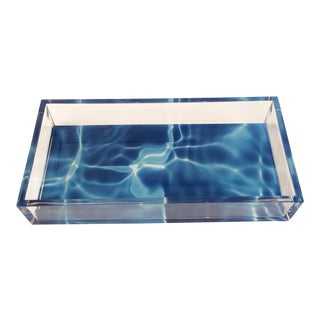 Amorphous Lucite Blue Tray For Sale